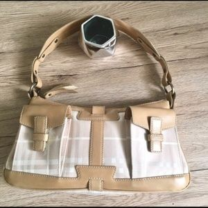 Burberry small leather and canvas shoulder bag